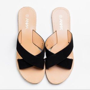 Anna Wheel-8 Black Criss Cross Slip on Sandals